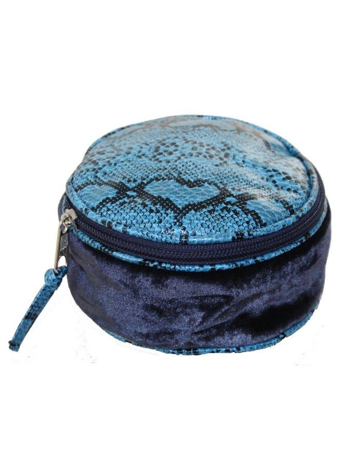 Snakeskin Velvet Round Jewellery Purse Blue 230