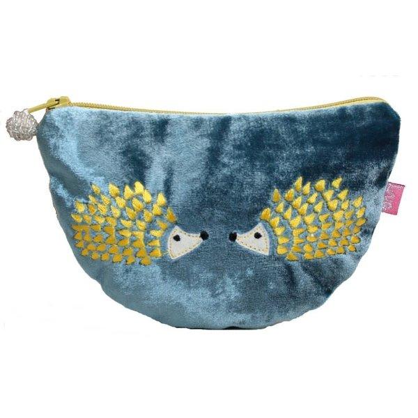 Hedgehog Embroidered Velvet Curved purse Petrol Blue  229