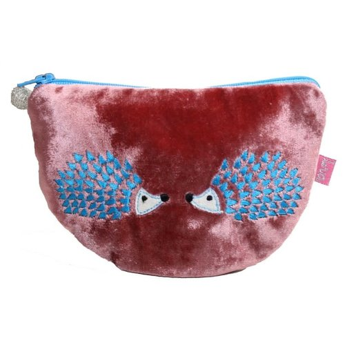 LUA Hedgehog Embroidered Velvet Curved purse Rosewood 228
