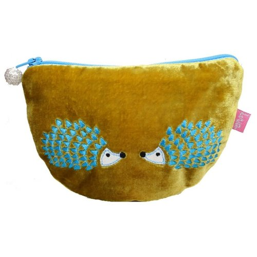 LUA Hedgehog Embroidered Velvet Curved purse Mustard 227