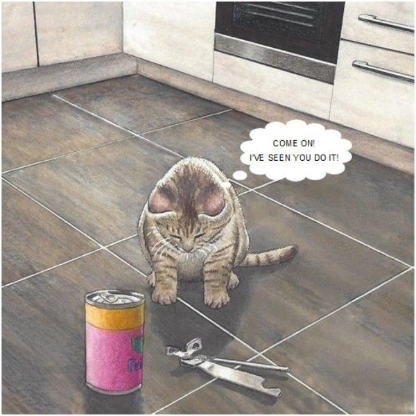 Tin Opener Humorous Cat card 16