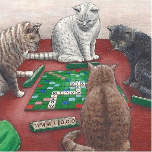 Adrian Keefe Scrabble Humorous Cat card 15