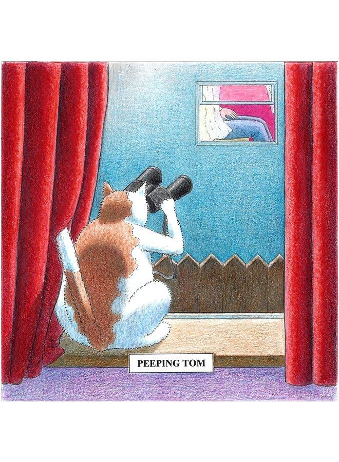Peeping Tom  Humorous Cat card 13