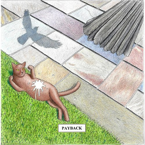 Adrian Keefe Payback Humorous Cat card 08