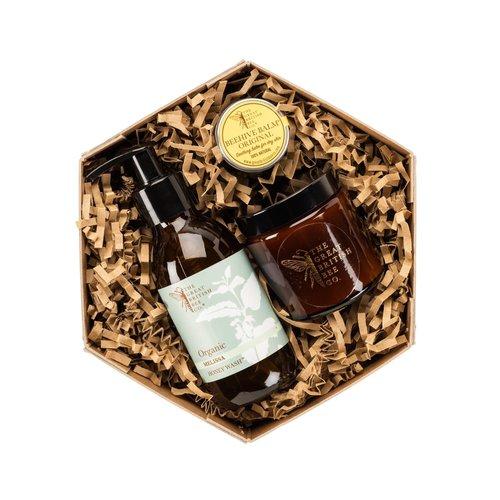 The Great British Bee Co. Melissa Set de regalo Bálsamo de cera de abejas, lavado y velas