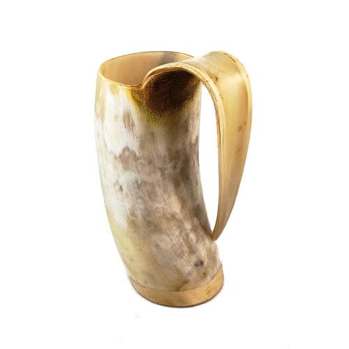 Abbey Horn Trinkbecher aus poliertem Horn mit verschweißtem Griff 46