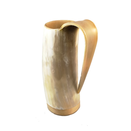 Abbey Horn Taza de Beber de Cuerno Pulido Mango Tapizado 45