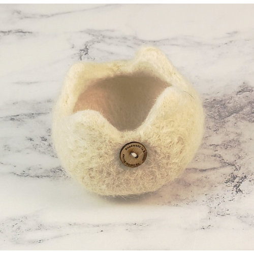 Rachel Morley Rare Breed Felt Bowl  Wensleydale Sheep 05