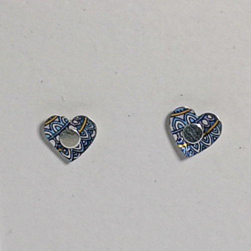 The Tinsmith Tiny Heart  tin & silver  stud earrings 20