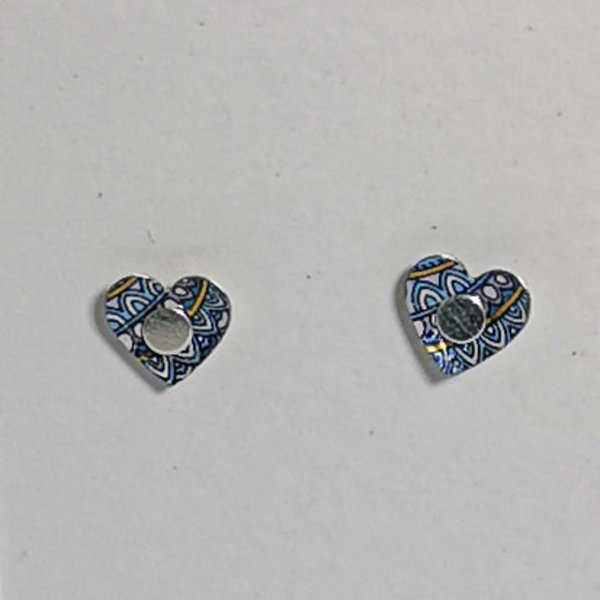 Tiny Heart  tin & silver  stud earrings 20