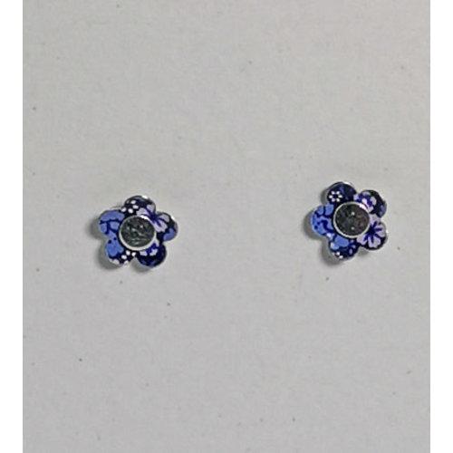 The Tinsmith Kleine blaue Blume Zinn & Silber Ohrstecker 19
