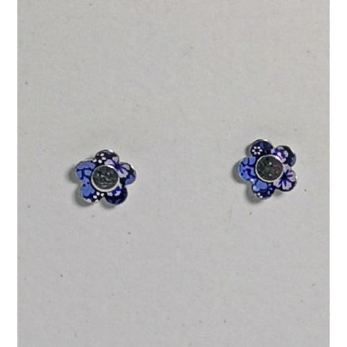 The Tinsmith Tiny Blue flower  tin & silver  stud earrings 19
