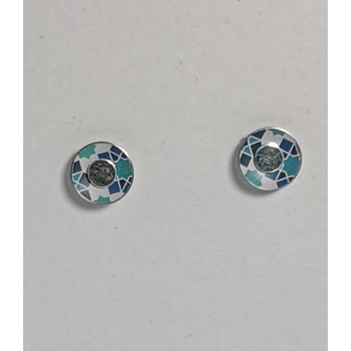 The Tinsmith Tiny blues geometric pattern  tin & silver  stud earrings 16