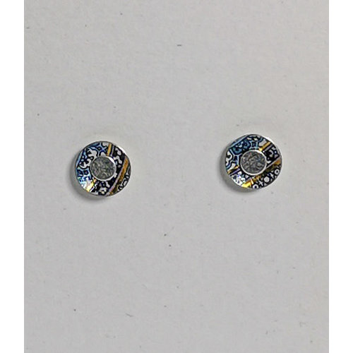 The Tinsmith Tiny gold pattern  tin & silver  stud earrings 15
