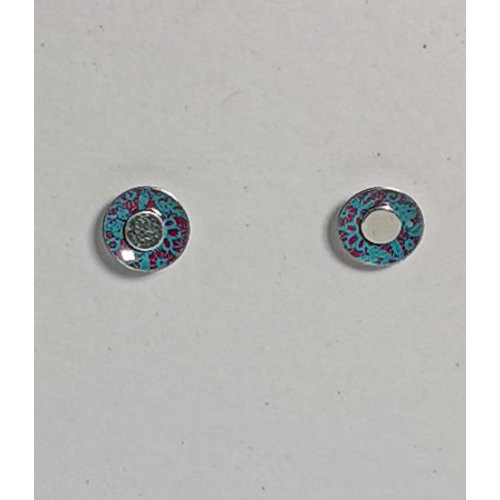 The Tinsmith Tiny Blue-red pattern  tin & silver  stud earrings 12