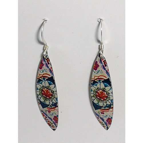 The Tinsmith Floral Leaf tin & silver  hook earrings 07