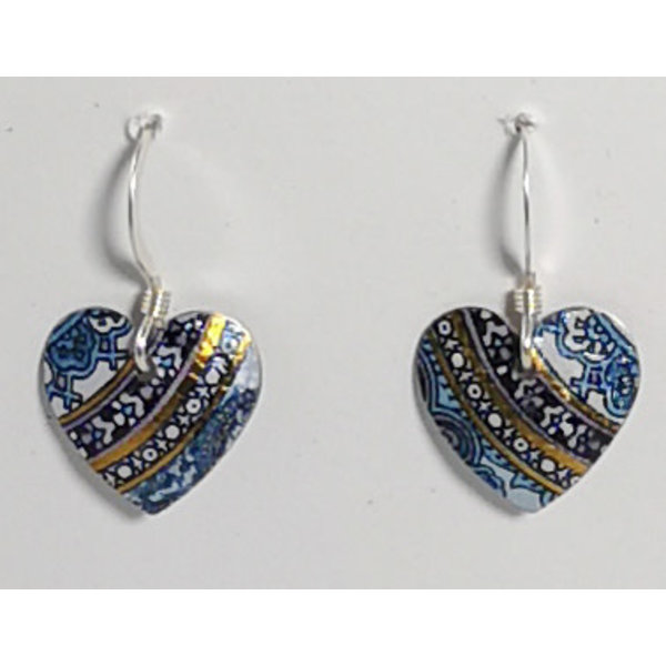 Heart Pattern tin & silver  hook earrings 06