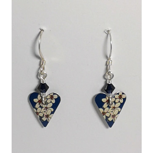 The Tinsmith Heart Cherry tin & silver with crystal  hook earrings 05
