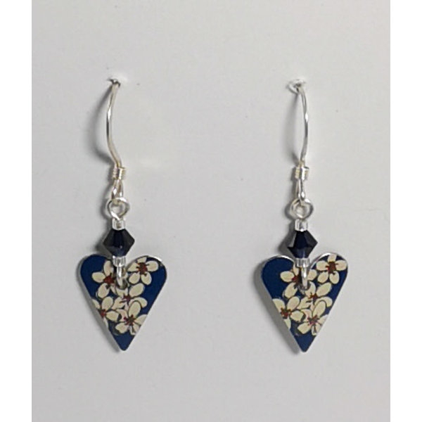 Heart Cherry tin & silver with crystal  hook earrings 05