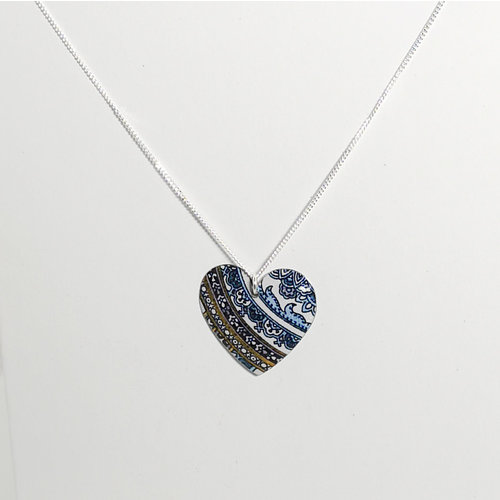 The Tinsmith Heart  pattern tin & silver convex necklace 03