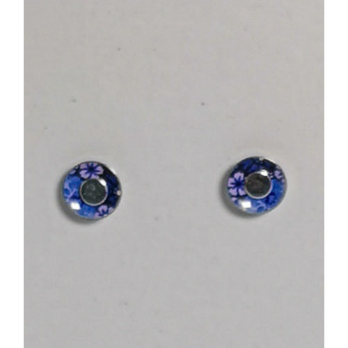 The Tinsmith Tiny cornflower tin & silver  stud earrings 10