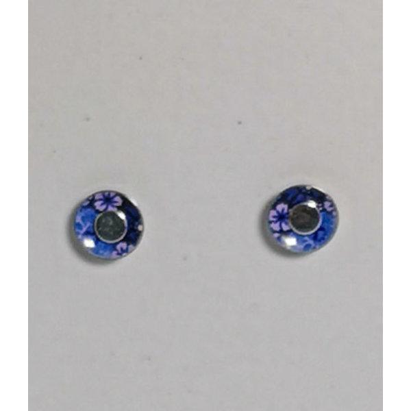 Tiny cornflower tin & silver  stud earrings 10