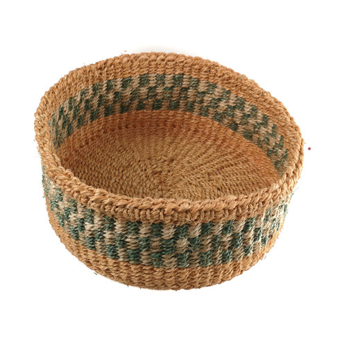 The Basket Room Mkate Green stripe grass hand woven  basket 17