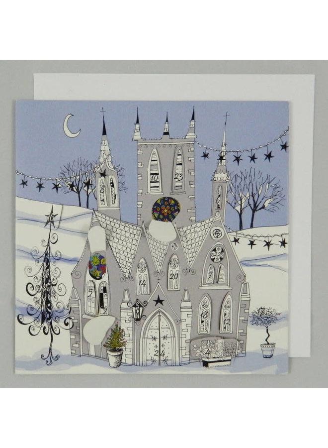 Adventskarte der gotischen Kirche 01