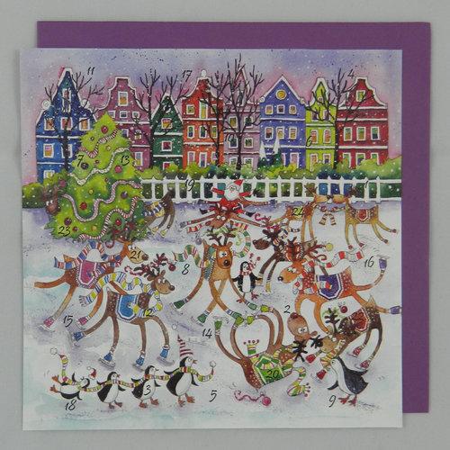 Swiss Kiss Reindeer Rink  Advent Card