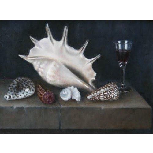 Linda Brill Shells and Glass on Stone Ledge  030
