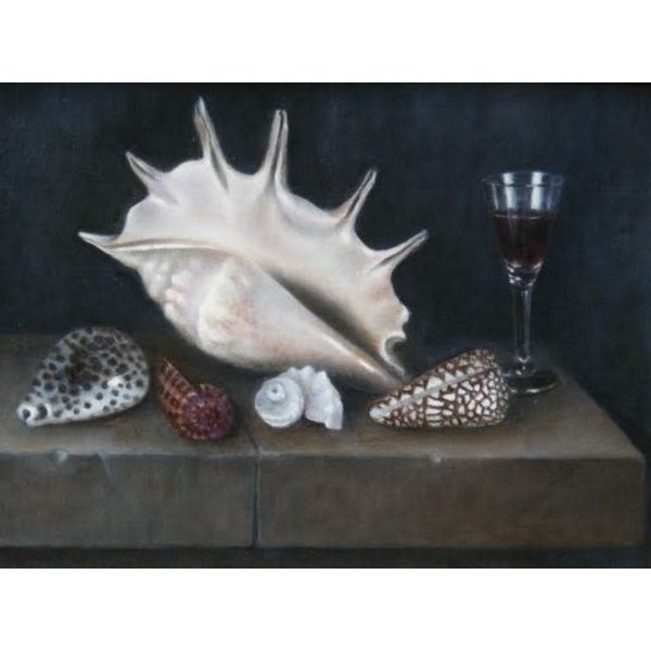 Shells and Glass on Stone Ledge  030