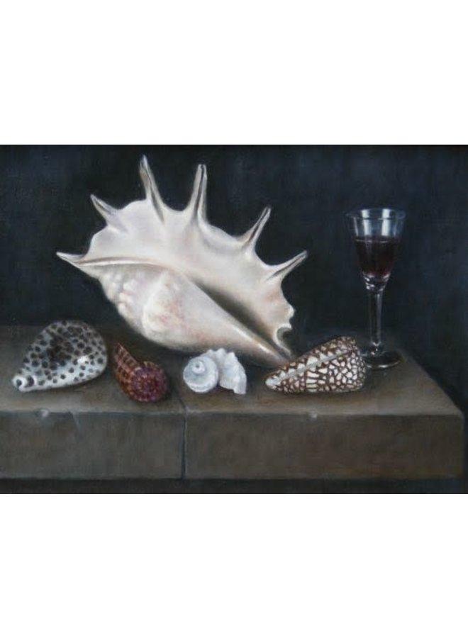 Muscheln und Glas auf Steinleiste 030