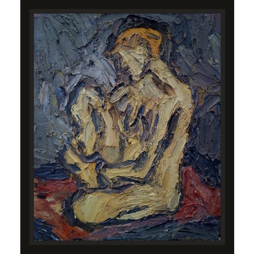 Barry De More Yellow Nude on  Red oil 026