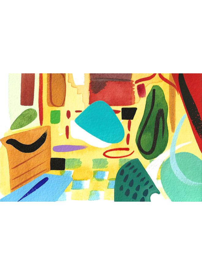 Abstract  Interior  2 gouache and watercolour 04