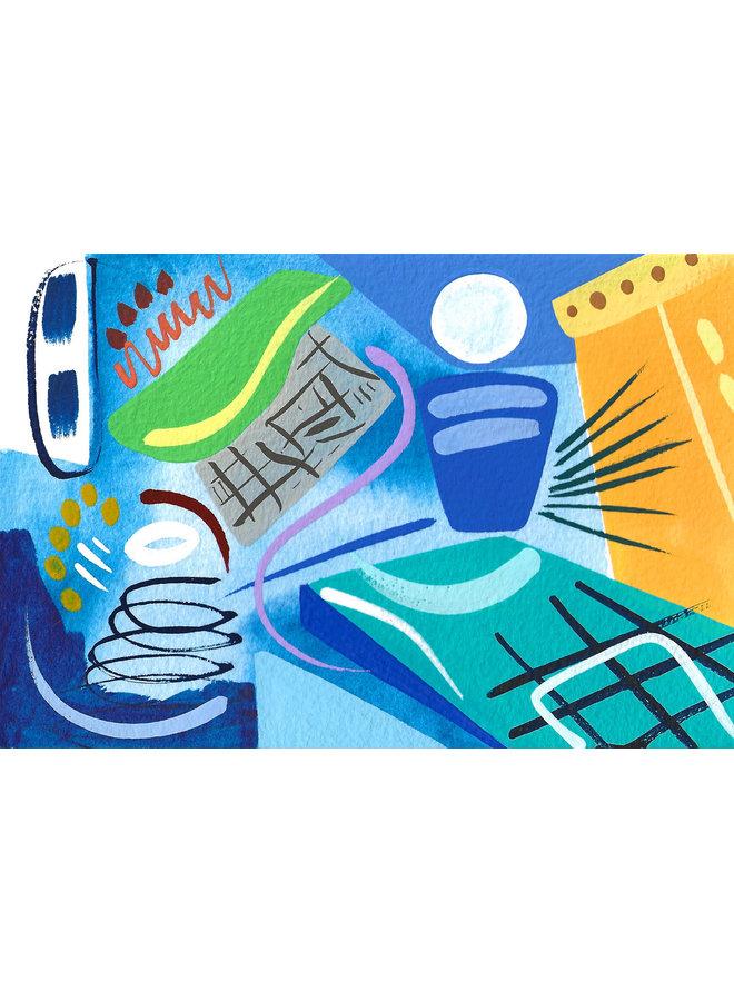 Blue Interior gouache and watercolour 02