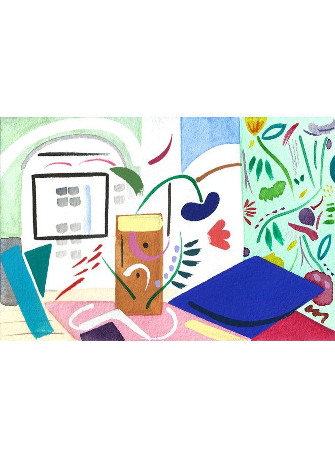 Floral Interior gouache and watercolour 01