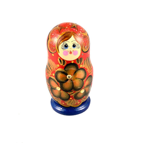 Russian Gifts Nesting Martyoshka Doll Blue with sequins  Small 108