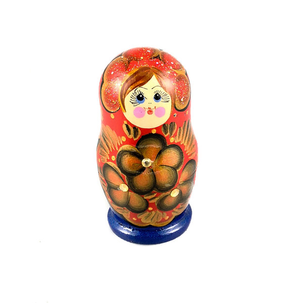 Nesting Martyoshka Doll Blue with sequins  Small 108