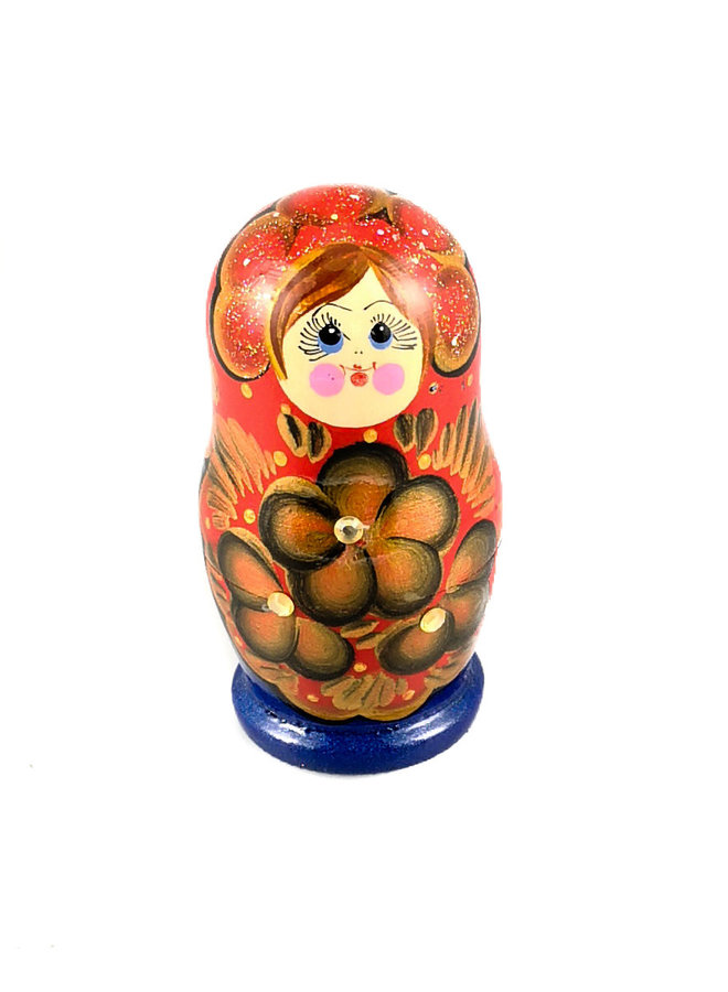 Nesting Martyoshka Doll Blue mit Pailletten Small 108