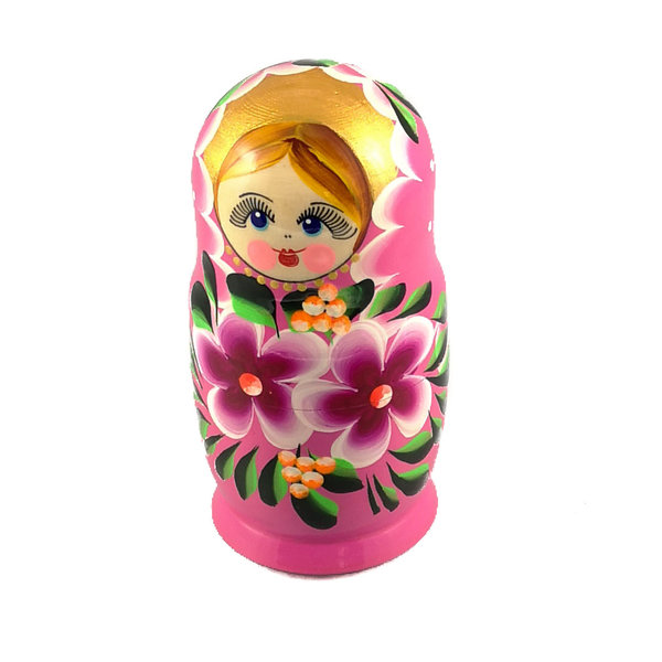 5 Nesting Martyoshka Doll Pink with Flowers  Small 106