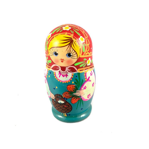 Russian Gifts 5 Nesting Martyoshka Doll  Blue with Strawberries  Small 104
