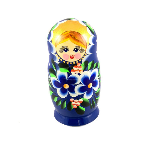 Russian Gifts 5 Nesting Martyoshka Doll  Dark Blue  with Flowers  Small 101