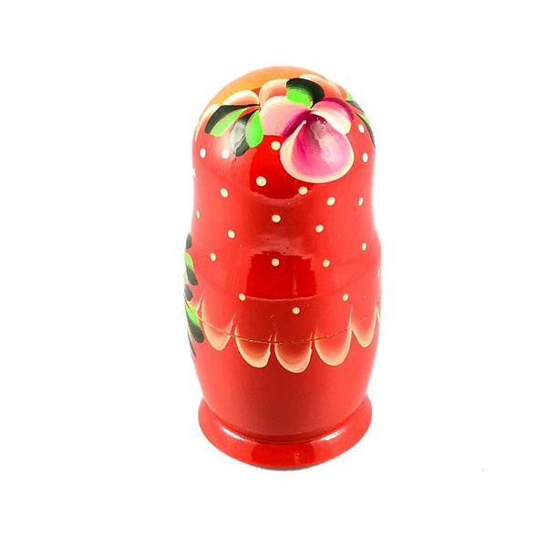 5 Nesting Martyoshka Doll  Red with Flowers  Small 105