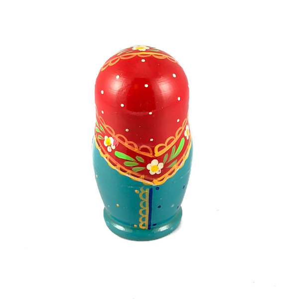 5 Nesting Martyoshka Doll  Blue with Strawberries  Small 104