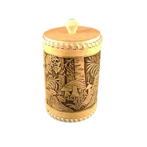 Russian Gifts Setas del bosque Corteza de abedul con tapa alta Recipiente 132