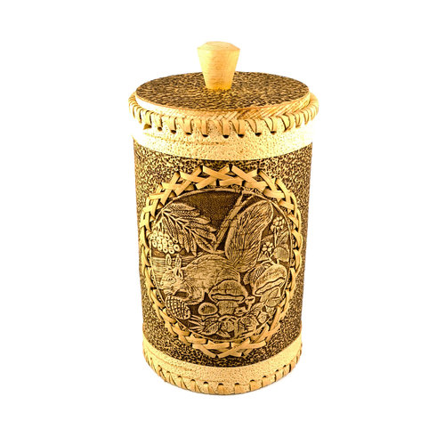 Russian Gifts Squirel Tall  lidded Birch bark Canister 131