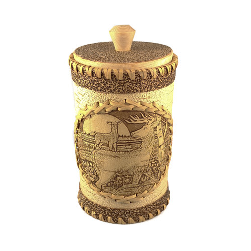 Russian Gifts Stag Tall  lidded Birch bark container 130