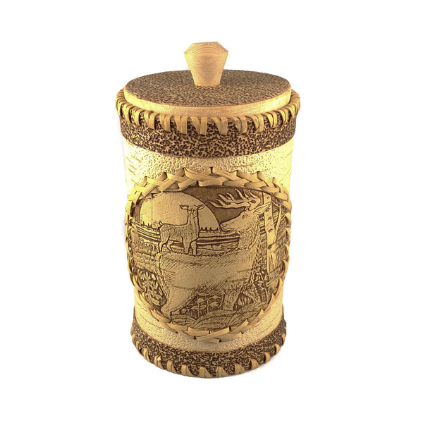 Stag Tall  lidded Birch bark container 130