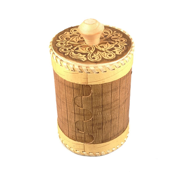 Berry  2 Tall  lidded Birch bark container 129