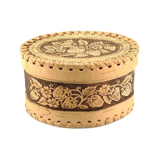 Russian Gifts Fresas Caja de corteza de abedul con tapa ovalada 127